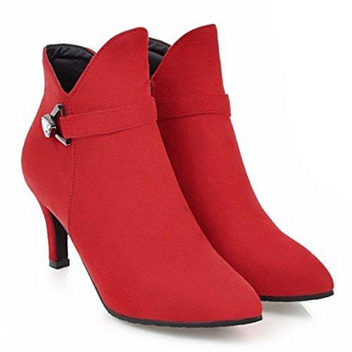 RAZAMAZA con Botines de para Mujer Cremallera Aguja Tacon 801 de Red rrBRFT