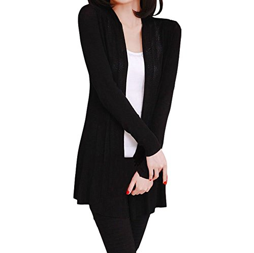 Kimono Sweater Jacket - Shawhuaa Womens knitted Slim Fit Open Front Cardigan Sweater Shawl Black