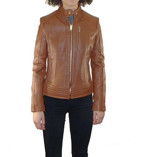 (Michael Kors Women's Moto Leather Jacket with Snap Collar-Cognac-XL)