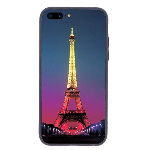 (CHUFZSD Neon Light Eiffel Tower iPhone 7/8 Plus Case Soft Flexible TPU Anti Scratch Shock-Proof Protective Shell Compatible Phone Case Cover (5.5)
