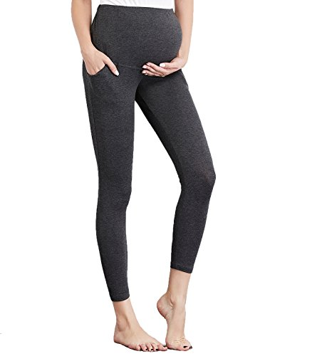 Liang Rou Maternity Belly Support Mini-Ribbed Stretch Full Length Leggings Dark (Ribbed Support)