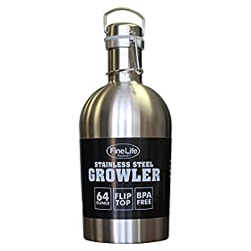 Classic Stainless Steel 64 ounce Growler. Convenie...