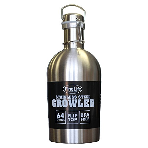 Classic Stainless Steel 64 ounce Growler. Convenient Swing-Top Keeps Homebrew Fresh with Airtight Seal. BPA Free. Great for Hiking, Traveling, Hunting and Mountaineering