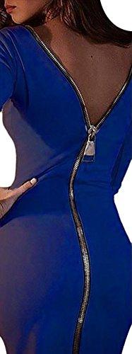 Mujer Vestidos Vestidos De Fiesta De Coctel Elegantes Manga Lindo Chic Larga Cuello Redondo Espalda Descubierta con Cremallera Slim Fit Moda Vestido Fiesta Vestido Coctel Medium Largos Azul
