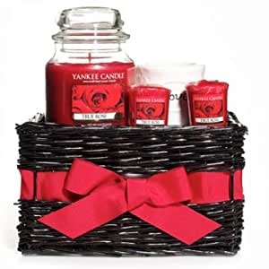 "Yankee Candle TRUE ROSE Gift Basket - 14.5 oz Jar Candle, 3 Votive Candles with a ""Love"" Glass Votive Holder"