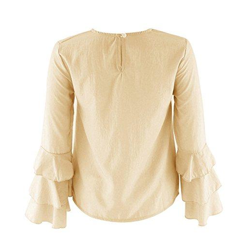 Minetom Camisetas Para Mujer Blusa Manga Larga Tops Irregular Mangas Plegables De La Trompeta Manera De Las Tapas T-Shirts Moderno Elegante Amarillo