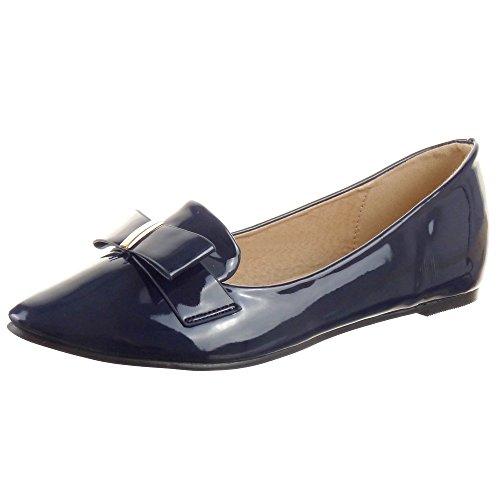 Sopily - Scarpe da Moda Mocassini ballerina alla caviglia donna lucide nodo metallico Tacco a blocco 0.5 CM - Blu