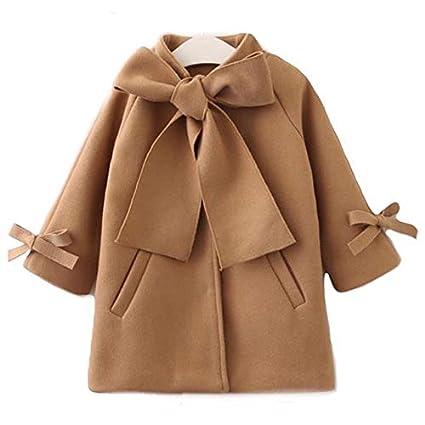 Automne Hiver Filles Manteau /à Capuche avec Arc pour Robe Jupe Manche Longue Manteau V/êtement Fille Chaud pour 2-8 Ans