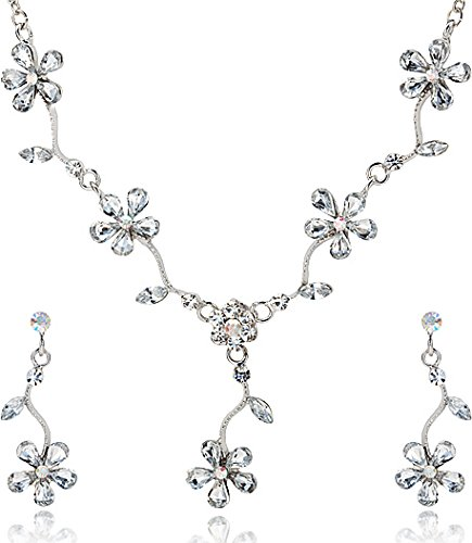 White Crystal Five Leaf Flower Petal Rhinestone Necklace and Earrings Jewelry Set [Bridal Jewelry] (Five Petals Rhinestone Flower)