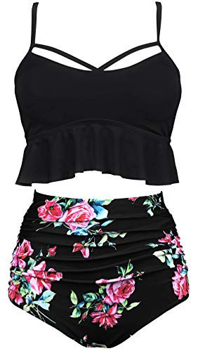 Waisted Fashion High - Gabrielle-Aug Women's Retro Two Pieces High Waisted Ruffle Bikini Set Flounce Falbala Swimwear Bathing Suit (Black, 8)
