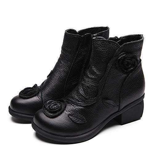 Nero Nero Nero Nero Dimensione Boots EU 39 Fuxitoggo Leather Leather Leather Leather Large Flower Shoes Colore Women gP6gq0wx8
