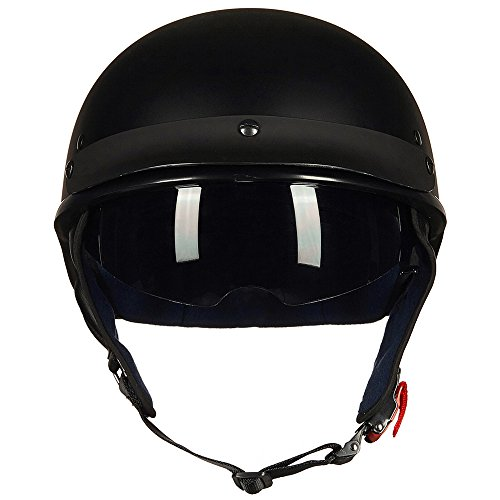 Upgraded ILM Motorcycle Half Helmet With Integrated Sun Visor Quick Release Buckle DOT Approved (M, MATT BLACK) by ILM (Image #1)