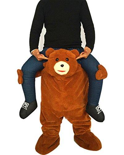 Piggyback Santa Costume Adult Carry On Me Costume Christmas Mascot Pants (Bear) -