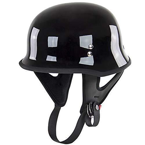 Outlaw T-75 German Style Glossy Black Half Helmet - Small