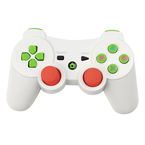 PS3 Controller,YUDEG Bluetooth Gamepad Wireless Controller Dual shock Joystick with Charging Cable for PS3 PlayStation 3 (White) (Wireless Video Sports System Game)