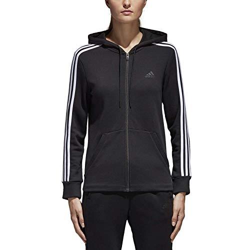 adidas Women's Essentials Cotton Fleece 3-Stripe Full Zip Hoodie, Black/White, ()
