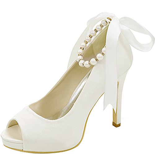 LOSLANDIFEN Women's Elegant Peep Toe Satin Pumps Ankle Straps Stiletto High Heel Wedding Shoes(6041-04B38,Ivory Satin) (Ivory Leather Peep Toe Pumps)