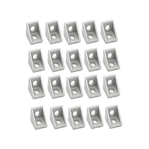 Iverntech 20pcs 2020 Aluminum Extrusion Profile Corner Brackets, Right Angle 2 Hole Inside - 20 Angle Aluminum