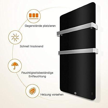 MICRO ENERGY SOLUTIONS Handtuch Heizk/örper Bad Handtuchw/ärmer Elektrisch 480 x 840 mm Handtuchtrockner Badheizk/örper 400W,Handtuchhalter-Funktion Schwarz MEHRWEG