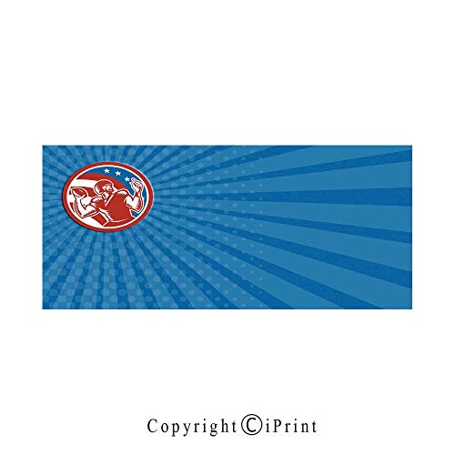 Sports Large Premium Quick Dry Cotton & Microfiber Bath Towel,Pop Art Gridiron Illustration with Old Fashioned Visual Properties Throwing Man Print,for Travel Sports & Beach,W70.8 x L31.4 Blue Red ()
