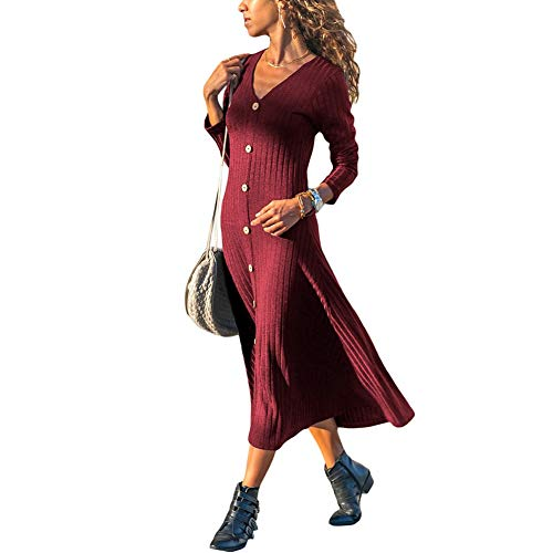 Man&Y Long Sleeve Ribbed Knit V-Neck Solid Color Versatile A-line Skirt Knitting High Waist Splice Leisure Women Dress (Color : 1, Size : XL) - Ribbed Cotton A-line Skirt