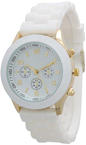 Geneva Silicone Watch Unisex Sports Wrist Watch Boyfriend Dial (White) (White Geneva Watches For Men)