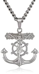 Men's Sterling Silver Solid Mariner's Cross Pendant Necklace with Crucifix and Stainless Steel Chain, 24""