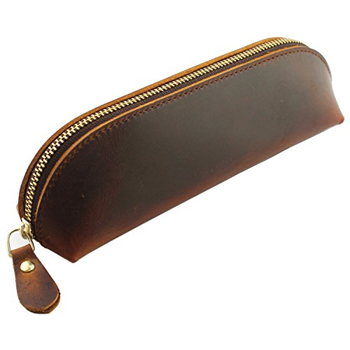 LXFF Genuine Leather Zipper Pen Pencil Pouch Case Holder Bag Small Travel Makeup Cosmetic Bag Vintage Crazy Horse Brown
