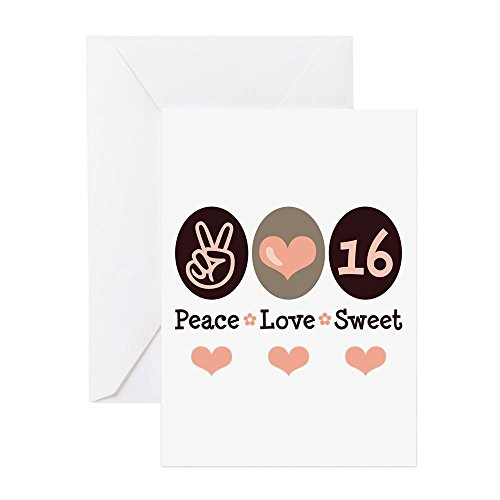 CafePress - Peace Love Sweet Sixteen 16Th Birthday Blank Card - Greeting Card, Note Card, Birthday Card, Blank Inside Glossy
