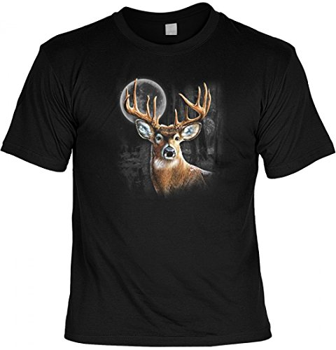 Motiv T-Shirt - Whitetail Wilderness - bedrucktes Motivshirt als Geschenk Idee für Jäger Schützen Wildniss Hirsch Mond