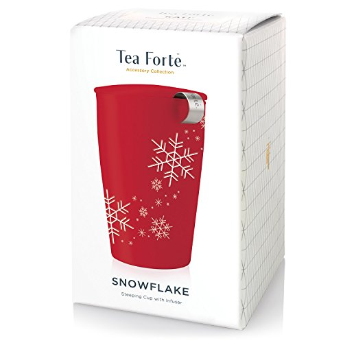 Tea Forté KATI Cup Ceramic Tea Brewing Cup with Infuser Basket and Lid for Steeping, Loose Leaf Tea Maker, Red Snowflake by Tea Forte (Image #1)