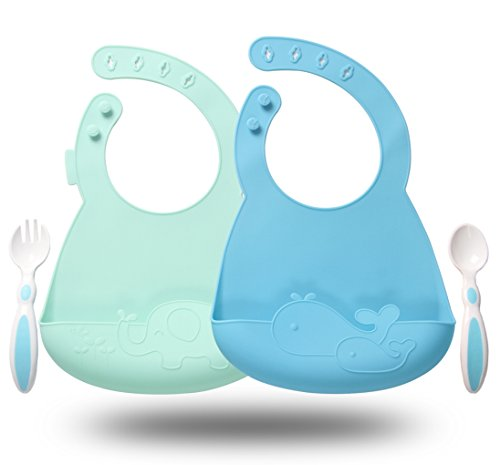 Silicone Baby Feeding Bibs Set of 2 - Waterproof Adjustable Snaps Infant Saliva Towel Bibs with Food Catcher Easily Wipes Clean, Include One Set Spoon & Fork (Blue/Cyan)