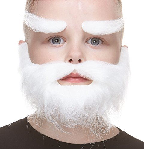 Mustaches Fake Beard and Eyebrows, Self Adhesive, Novelty, Small, Realistic Traper False Facial Hair, Costume Accessory for Kids, White Color]()