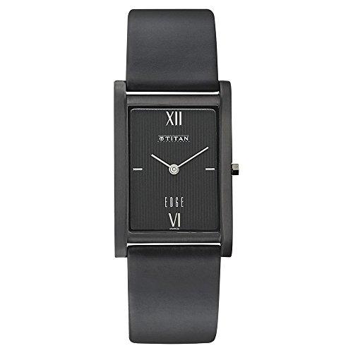 Titan Edge (Titan Men's 'Edge' Quartz Stainless Steel and Leather Casual Watch, Color:Black (Model: 1043NL01))