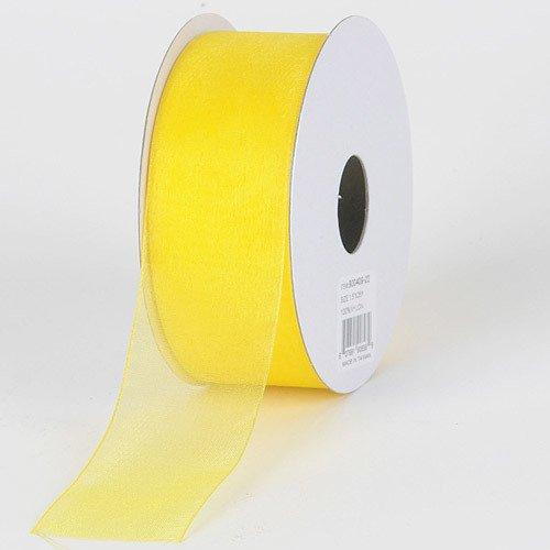 BBCrafts 1-1/2 inch x 100 Yards Sheer Organza Ribbon Decoration Wedding Party (Daffodil)