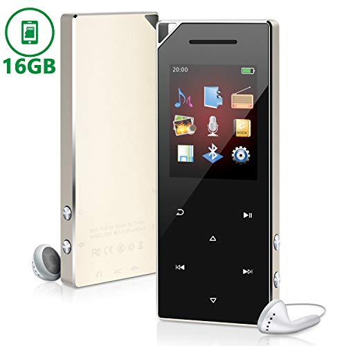 MP3 Music Player with Bluetooth 4.0 for Running 16GB Portable Digital Music Audio Player with FM Radio/Speaker Support Expandable up to 128GB Metal Shell Touch Buttons Control