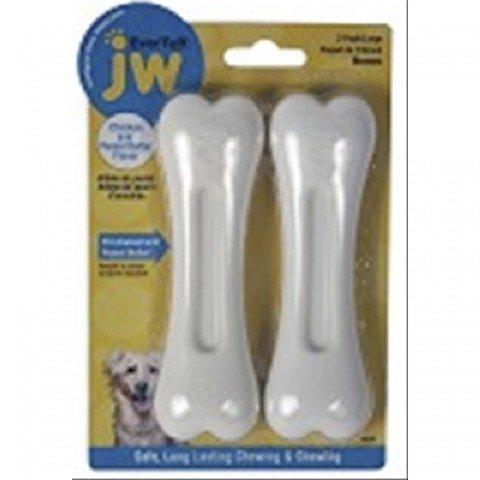 JW Pet Company 46131 EverTuff 2-Pack Bone Chicken and Peanut Butter Flavored Chew Toy Pets, Medium, White (Tuff Butter Peanut)