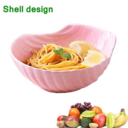 BSWEEII Large Ceramic Fruit Bowl Candy Dish Salad Bowl Decorative Centerpiece Bowl Serving Bowl Best for Serving Fruit Salad Candy Unique Shell Design Pink (Shell Dish Candy)