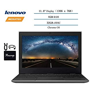 "2020 Lenovo Chromebook 2ND Gen 11.6"" Laptop Computer for Business and Student, 11.6"" HD (1366 X 768) Display, 4GB RAM, 32GB eMMC, Chrome OS w/ HESVAP Accessories (MediaTek MT8173C)"