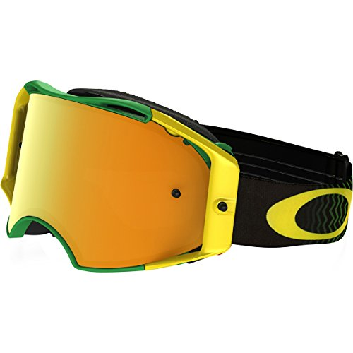 Oakley Airbrake MX Shockwave Men's Dirt Motocross Motorcycle Goggles Eyewear - Green Yellow/24K Iridium/One Size Fits All