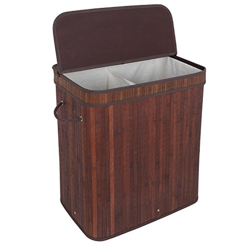 ZENY Foldable Bamboo Laundry Hamper Double Storage Basket w/Lid Handle and Removable Liner,Dirty Clothes Storage Organizer,Rectangular (Brown Bamboo)