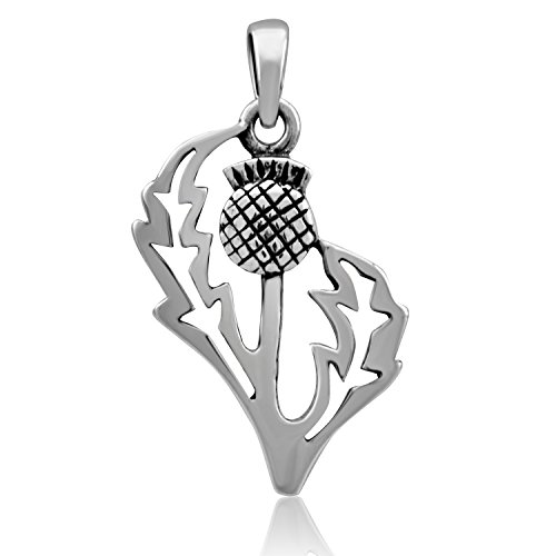 WithLoveSilver Sterling Silver 925 Charm Classic Scottish Style Flower Thistle Pendant