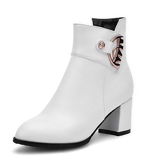 top Closed White Material Heels Solid Boots Women's Round Toe AmoonyFashion Soft Kitten Low F1zqn6