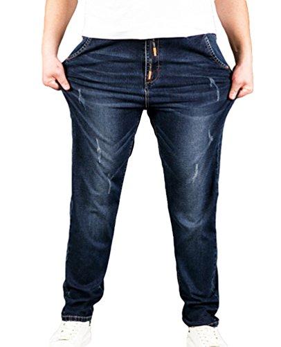Heheja Sottile Taglia Elasticità Come Immagine Uomo Jeans Alta Fit Straight Vita Denim Grossa Pantaloni wqgftqr