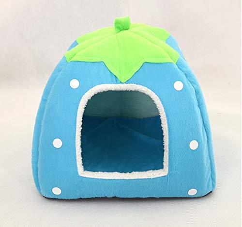 bluee L bluee L Pet nest Dog House cat Litter Strawberry Pattern Foldable pet Litter (color   bluee, Size   L)
