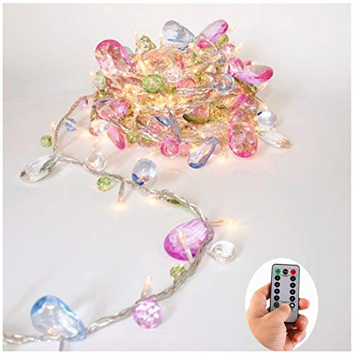 DealBeta [Updated Version] Indoor House String Lights-Bohemia Style String Jewels-Colorful Jewels LED Fairy Christmas Lights-Battery Powered-8 Mode- Remote-Timer,30 Warm White LED Gift Lights Girl