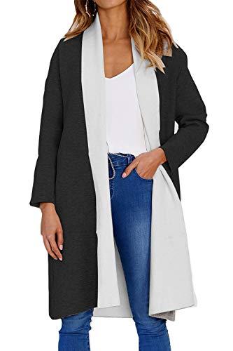 Le Donne Black Davanti Aperta Cardigan Con Yulinge Tasca Impermeabile Outwear dg5wzgRq