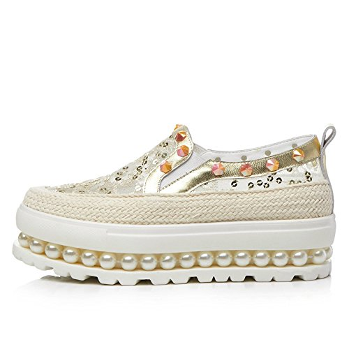 Femmes Gold Rivets Hollow Chaussures Pour Plateformes Grass Shoes MUYII Chaussures Pearl Mocassins twnqpaxTU4