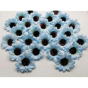 FidgetFidget Sunflowers Daisy Artificial Silk Flower Heads Wholesale 3 inch F36 50X100X200X Light Blue 88