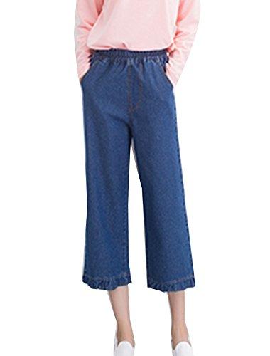 Femme Casual lgant Jeans Taille Haute Large Pantalon Lache Droite Jean Couleur Unie Boyfriend Bleu Fonc